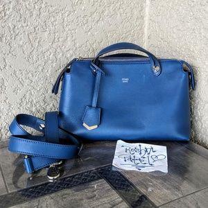 FENDI By the Way Blue Calfskin Satchel Crossbody